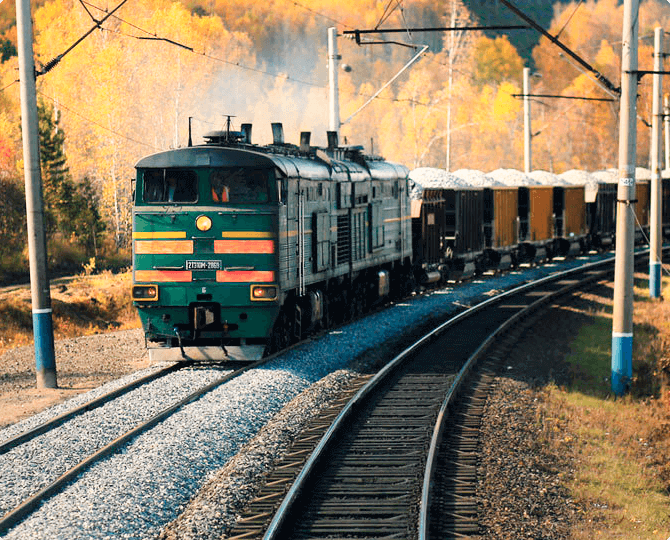 Container transportation by rail across Russia